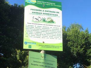Placa do Parque Municipal das Dunas da Lagoa da Conceição